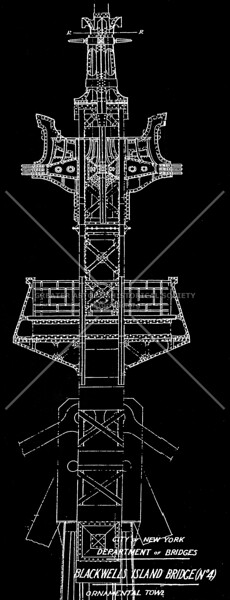 """Henry Hornbostel drawing of the ornamental tower for the Queensboro Bridge. Railings on the lower platform bear the architect's initials """"H H."""""""
