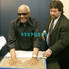 ATLANTIC CITY- JULY 4, 2003, Ray Charles appeared in The Superstar Theater in Resorts Casino Hotel for the holiday weekend. Prior to taking the stage, Charles placed his hands in a block of wet cement that was to be placed at the boardwalk entrance to Resorts Casino Hotel. Charles, age 73, died on June 10th  of complications from liver disease at his home in Beverly Hills
