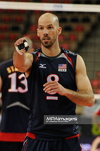 27.05.2011 - Lodz , Atlas Arena , Siatkowka, Liga Swiatowa 2011 ,  Polska (biale) - USA (granatowe) N/Z William Priddy Fot. Mariusz Palczynski / MPAimages.com
