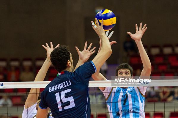 06.07.2011 - Gdansk , ERGO Arena , Siatkowka mezczyzn (Volleyball men's) , Finaly Ligi Swiatowej 2011 , FIVB World League Final 2011 ,  Argentyna (bialo-niebieskie) - Wlochy (granatowe) N/Z Birarelli , Conte Fot. Mariusz Palczynski / MPAimages.com