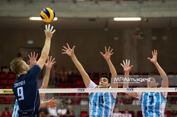 06.07.2011 - Gdansk , ERGO Arena , Siatkowka mezczyzn (Volleyball men's) , Finaly Ligi Swiatowej 2011 , FIVB World League Final 2011 ,  Argentyna (bialo-niebieskie) - Wlochy (granatowe) N/Z Zaytsev , Sole , Conte Fot. Mariusz Palczynski / MPAimages.com