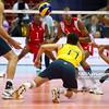 06.07.2011 - Gdansk , ERGO Arena , Siatkowka mezczyzn (Volleyball men's) , Finaly Ligi Swiatowej 2011 , FIVB World League Final 2011 ,  Brazylia (zolte - Kuba (czerwone) N/Z Marlon , Vissotto Fot. Mariusz Palczynski / MPAimages.com