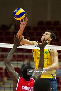 06.07.2011 - Gdansk , ERGO Arena , Siatkowka mezczyzn (Volleyball men's) , Finaly Ligi Swiatowej 2011 , FIVB World League Final 2011 ,  Brazylia (zolte) - Kuba (czerwone) N/Z Camejo Fot. Mariusz Palczynski / MPAimages.com