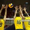 06.07.2011 - Gdansk , ERGO Arena , Siatkowka mezczyzn (Volleyball men's) , Finaly Ligi Swiatowej 2011 , FIVB World League Final 2011 ,  Brazylia (zolte - Kuba (czerwone) N/Z Dante Amaral , Lucas Saatkamp , Vissotto  Fot. Mariusz Palczynski / MPAimages.com