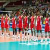 06.07.2011 - Gdansk , ERGO Arena , Siatkowka mezczyzn (Volleyball men's) , Finaly Ligi Swiatowej 2011 , FIVB World League Final 2011 ,  Brazylia (zolte - Kuba (czerwone) N/Z Reprezantacja Kuby Fot. Mariusz Palczynski / MPAimages.com