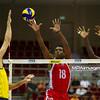 06.07.2011 - Gdansk , ERGO Arena , Siatkowka mezczyzn (Volleyball men's) , Finaly Ligi Swiatowej 2011 , FIVB World League Final 2011 ,  Brazylia (zolte - Kuba (czerwone) N/Z Dante Amaral , Diaz , Camejo Fot. Mariusz Palczynski / MPAimages.com