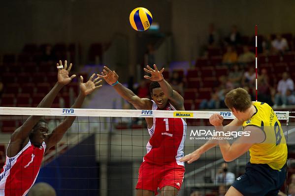 06.07.2011 - Gdansk , ERGO Arena , Siatkowka mezczyzn (Volleyball men's) , Finaly Ligi Swiatowej 2011 , FIVB World League Final 2011 ,  Brazylia (zolte) - Kuba (czerwone) N/Z Camejo , Leon , Murilo Fot. Mariusz Palczynski / MPAimages.com