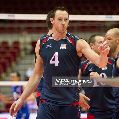 06.07.2011 - Gdansk , ERGO Arena , Siatkowka mezczyzn (Volleyball men's) , Finaly Ligi Swiatowej 2011 , FIVB World League Final 2011 ,  USA (granatowe) - Rosja (czerwone) N/Z David Lee  Fot. Mariusz Palczynski / MPAimages.com