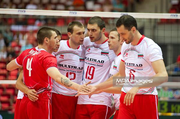 07.07.2011 - Gdansk , ERGO Arena , Siatkowka mezczyzn (Volleyball men's) , Finaly Ligi Swiatowej 2011 , FIVB World League Final 2011 ,  Bulgaria (biale) - Argentyna (niebieskie)  N/Z Siatkarze Bulgarii Fot. Mariusz Palczynski / MPAimages.com