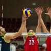 07.07.2011 - Gdansk , ERGO Arena , Siatkowka mezczyzn (Volleyball men's) , Finaly Ligi Swiatowej 2011 , FIVB World League Final 2011 ,  USA (czerwone) - Brazylia (granatowe)  N/Z Giba , Clayton Stanley , Matthew Andreson Fot. Mariusz Palczynski / MPAimages.com