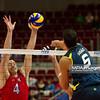 07.07.2011 - Gdansk , ERGO Arena , Siatkowka mezczyzn (Volleyball men's) , Finaly Ligi Swiatowej 2011 , FIVB World League Final 2011 ,  USA (czerwone) - Brazylia (granatowe)  N/Z David Lee , Sidao Fot. Mariusz Palczynski / MPAimages.com
