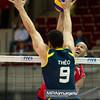 07.07.2011 - Gdansk , ERGO Arena , Siatkowka mezczyzn (Volleyball men's) , Finaly Ligi Swiatowej 2011 , FIVB World League Final 2011 ,  USA (czerwone) - Brazylia (granatowe)  N/Z Theo , William Priddy Fot. Mariusz Palczynski / MPAimages.com