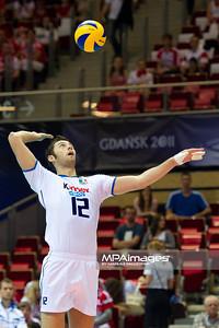 07.07.2011 - Gdansk , ERGO Arena , Siatkowka mezczyzn (Volleyball men's) , Finaly Ligi Swiatowej 2011 , FIVB World League Final 2011 ,  Wlochy (biale) - Bulgaria (czarne)  N/Z Simone Buti Fot. Mariusz Palczynski / MPAimages.com