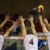 08.07.2011 - Gdansk , ERGO Arena , Siatkowka mezczyzn (Volleyball men's) , Finaly Ligi Swiatowej 2011 , FIVB World League Final 2011 ,  USA (biale) - Kuba (granatowe)  N/Z Paul Lotman , David Lee , L:eon , Clayton Stanley Fot. Mariusz Palczynski / MPAimages.com