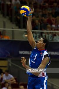 08.07.2011 - Gdansk , ERGO Arena , Siatkowka mezczyzn (Volleyball men's) , Finaly Ligi Swiatowej 2011 , FIVB World League Final 2011 ,  USA (biale) - Kuba (granatowe)  N/Z Leon Fot. Mariusz Palczynski / MPAimages.com