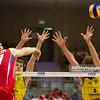 10.07.2011 - Gdansk , ERGO Arena , Siatkowka mezczyzn (Volleyball men's) , Finaly Ligi Swiatowej 2011 , FIVB World League Final 2011 ,  Final Brazylia (zolte) - Rosja (czerwone)  N/Z Maxim Mikhaylov , Bruno Rezende , Lucas Saatkamp Fot. Mariusz Palczynski / MPAimages.com