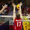 10.07.2011 - Gdansk , ERGO Arena , Siatkowka mezczyzn (Volleyball men's) , Finaly Ligi Swiatowej 2011 , FIVB World League Final 2011 ,  Final Brazylia (zolte) - Rosja (czerwone)  N/Z Dmitriy Muserskiy , Maxim Mikhaylov , Giba Fot. Mariusz Palczynski / MPAimages.com