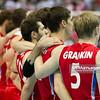 10.07.2011 - Gdansk , ERGO Arena , Siatkowka mezczyzn (Volleyball men's) , Finaly Ligi Swiatowej 2011 , FIVB World League Final 2011 ,  Final Brazylia (zolte) - Rosja (czerwone)  N/Z Reprezentacja Rosji Fot. Mariusz Palczynski / MPAimages.com