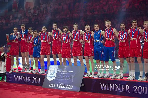 10.07.2011 - Gdansk , ERGO Arena , Siatkowka mezczyzn (Volleyball men's) , Finaly Ligi Swiatowej 2011 , FIVB World League Final 2011 ,  Dekoracja N/Z Rosjanie Fot. Mariusz Palczynski / MPAimages.com