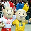 29.02.2012 - Warszawa , Stadion Narodowy , pilka nozna , Polska (biale) - Portugalia (czerwone)  N/Z Maskotki EURO2012 Slawek i Slavko  Fot. Mariusz Palczynski / MPAimages.com