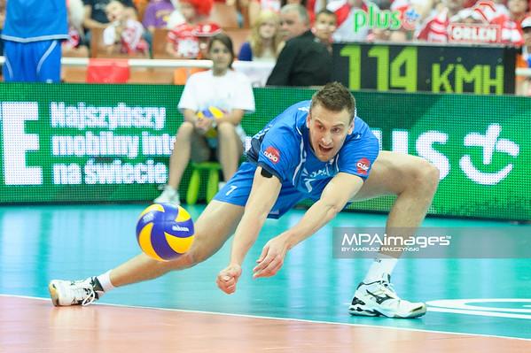 02.06.2012 - Katowice , Spodek , siatkowka , World League 2012 , Polska (czerwone) - Finlandia (niebieskie)  N/Z Matti Hietanen  Fot. Mariusz Palczynski / MPAimages.com