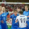 02.06.2012 - Katowice , Spodek , siatkowka , World League 2012 , Polska (czerwone) - Finlandia (niebieskie)  N/Z Siatkarze Finlandii  Fot. Mariusz Palczynski / MPAimages.com