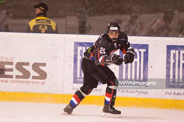 26.11.2013 , Tychy , Stadion Zimowy , hokej , Polska Hokej Liga , GKS Tychy (biale) Ciarko PBS Bank Sanok (czarne)  N/Z Anthony Aquinta Fot. Karol Bartnik / MPAimages.com