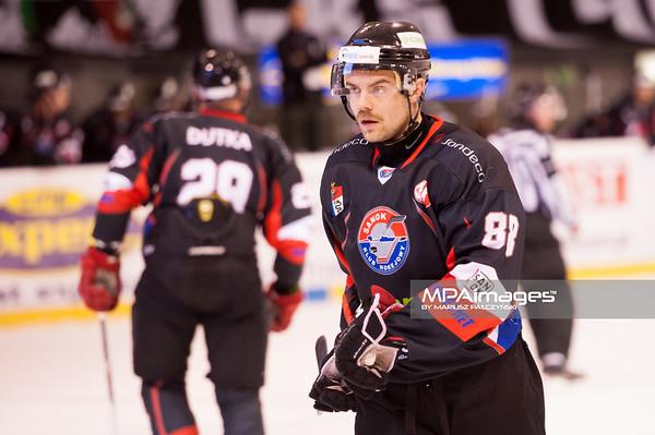 26.11.2013 , Tychy , Stadion Zimowy , hokej , Polska Hokej Liga , GKS Tychy (biale) Ciarko PBS Bank Sanok (czarne)  N/Z Marcin Bialy Fot. Karol Bartnik / MPAimages.com