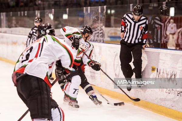 26.11.2013 , Tychy , Stadion Zimowy , hokej , Polska Hokej Liga , GKS Tychy (biale) Ciarko PBS Bank Sanok (czarne)  N/Z Josef Vitek , Sedzia Fot. Karol Bartnik / MPAimages.com