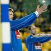 23.02.2014 , Kielce , Hala Legionow , pilka reczna , EHF Champions League , KS Vive Targi Kielce (zolte) Orlen Wisla Plock (niebieskie)  N/Z Kamil Syprzak Fot. Karol Bartnik / MPAimages.com