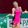 08.04.2014 - Katowice , Spodek ,  BNP Paribas Katowice Open , Vera Dushevina (RUS) - Francesca Schiavone (ITA)  N/Z Vera Dushevina  Fot. Mariusz Palczynski / MPAimages.com