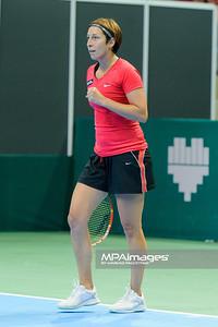 10.04.2014 - Katowice , Spodek ,  BNP Paribas Katowice Open , Mirjana Lucic Baroni (CRO) - Yvonne Meusburger (AUT)  N/Z Yvonne Meusburger  Fot. Mariusz Palczynski / MPAimages.com