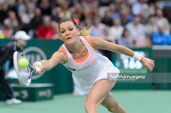 12.04.2014 - Katowice , Spodek ,  BNP Paribas Katowice Open , Agnieszka Radwanska (POL) - Alize Cornet (FRA)  N/Z Agnieszka Radwanska  Fot. Mariusz Palczynski / MPAimages.com