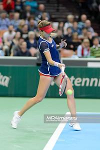 12.04.2014 - Katowice , Spodek ,  BNP Paribas Katowice Open , Agnieszka Radwanska (POL) - Alize Cornet (FRA)  N/Z Alize Cornet  Fot. Mariusz Palczynski / MPAimages.com