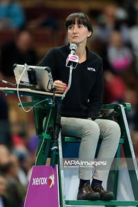 12.04.2014 - Katowice , Spodek ,  BNP Paribas Katowice Open , Carla Suarez Navarro (ESP) - Camila Giorgi (ITA)  N/Z Sedzia   Fot. Mariusz Palczynski / MPAimages.com