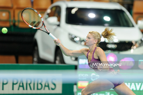 12.04.2014 - Katowice , Spodek ,  BNP Paribas Katowice Open , Carla Suarez Navarro (ESP) - Camila Giorgi (ITA)  N/Z Camila Giorgi  Fot. Mariusz Palczynski / MPAimages.com