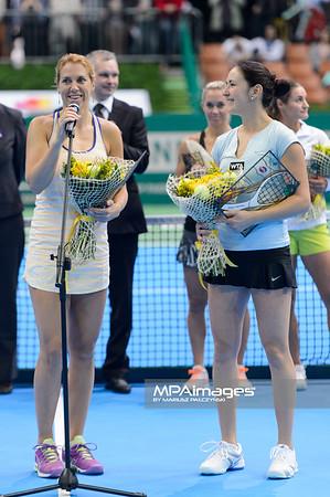 13.04.2014 - Katowice , Spodek ,  BNP Paribas Katowice Open , Dekoracja Debel  N/Z Olga Savchuk , Yuliya Beygelzimer  Fot. Mariusz Palczynski / MPAimages.com