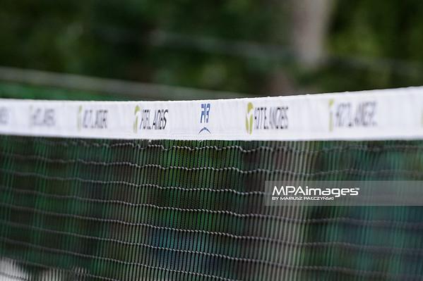 19.08.2014 - Stare Jablonki , siatkowka plazowa , beach volleyball , World Tour , FIVB Stare Jablonki Grand Slam 2014 , Hiszpania (zolte) - Niemcy (niebieskie) , Spain - Germany  N/Z Siatka Fot. Karol Bartnik / MPAimages.com