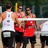 22.08.2014 - Stare Jablonki , siatkowka plazowa , beach volleyball , World Tour , FIVB Stare Jablonki Grand Slam 2014 , Holandia (czerwone) - Norwegia (biale) , Holland (red) - Norway (white) N/Z  Fot. Karol Bartnik / MPAimages.com