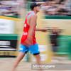 23.08.2014 - Stare Jablonki , siatkowka plazowa , beach volleyball , World Tour , FIVB Stare Jablonki Grand Slam 2014 , Polska (czerwone) - Lotwa (biale) , Poland - Latvia   N/Z Jakub Szalankiewicz  Fot. Mariusz Palczynski / MPAimages.com