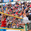 23.08.2014 - Stare Jablonki , siatkowka plazowa , beach volleyball , World Tour , FIVB Stare Jablonki Grand Slam 2014 , Polska (czerwone) - Lotwa (biale) , Poland - Latvia   N/Z Michal Kadziola , Janis Smedins  Fot. Mariusz Palczynski / MPAimages.com