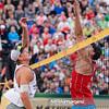 23.08.2014 - Stare Jablonki , siatkowka plazowa , beach volleyball , World Tour , FIVB Stare Jablonki Grand Slam 2014 , Polska (czerwone) - Lotwa (biale) , Poland - Latvia   N/Z Janis Smedins , Michal Kadziola  Fot. Mariusz Palczynski / MPAimages.com