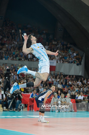02.09.2014 - Wroclaw , Hala Stulecia , siatkowka , Mistrzostwa Swiata 2014 , grupa A Argentyna (bialo-niebieskie) - Serbia (czerwone) , FIVB Men's World Championship , pool A Argentina (white-blue) - Serbia (blue)   N/Z Facundo Conte  Fot. Mariusz Palczynski / MPAimages.com