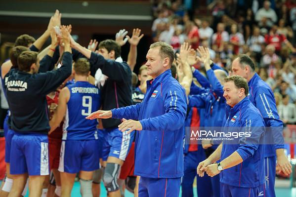 13.09.2014 - Katowice , Spodek , siatkowka , Mistrzostwa Swiata 2014 , grupa F Niemcy (zlote) - Rosja (niebieskie) , FIVB Men's World Championship , pool F Germany (gold) - Russia (blue) N/Z Andrey Voronkov Fot. Karol Bartnik / MPAimages.com