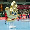30.12.2014 - Katowice , Spodek , pilka reczna , Christmas Cup , Polska (biale) - Wegry (zielone)  N/Z Maskotka Euro 2016 Fot. Karol Bartnik / MPAimages.com