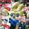 30.12.2014 - Katowice , Spodek , pilka reczna , Christmas Cup , Polska (biale) - Wegry (zielone)  N/Z Kibice reprezentacji Polski , Maskotka Euro 2016 Fot. Karol Bartnik / MPAimages.com