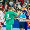 30.12.2014 - Katowice , Spodek , pilka reczna , Christmas Cup , Polska (biale) - Wegry (zielone)  N/Z David Debreczeni Fot. Karol Bartnik / MPAimages.com