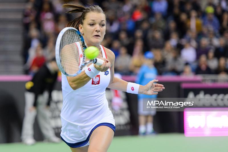 07.02.2015 - Krakow , Krakow Arena , Fed Cup by BNP Paribas , Polska – Rosja , Poland - Russia  N/Z Agnieszka Radwanska  Fot. Mariusz Palczynski / MPAimages.com