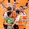 29.03.2015 - Berlin , Germany , Max Schmeling Halle , siatkowka , Liga Mistrzow CEV , 2015 CEV DenizBank Volleyball Champions League , Final Four , Berlin Recycling Volleys (pomaranczowe orange) - PGE Skra Belchatow (czarne black)   N/Z Erik Shoji , Robert Kromm , Johannes Bontje , Sebastian Kuhner , Scott Touzinsky  Fot. Mariusz Palczynski / MPAimages.com