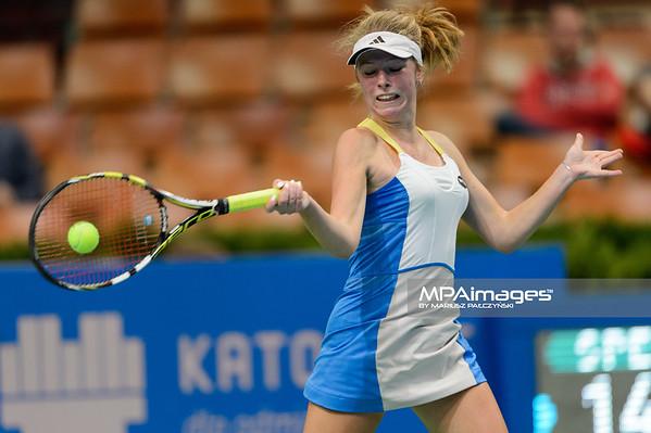 07.04.2015 - Katowice , Spodek , Katowice Open , Magdalena Frech (POL) - An-Sophie Mestach (BEL)  N/Z Magdalena Frech  Fot. Mariusz Palczynski / MPAimages.com